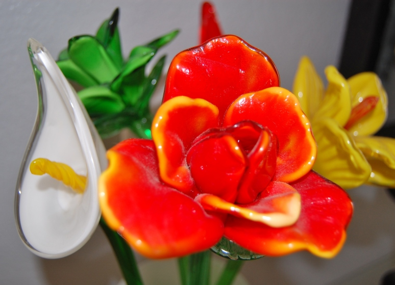 Glass Flowers - red-orange