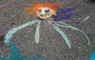 Street Art orange haired face.web