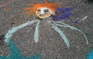 Street Art orange haired face.web